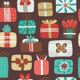 Seamless pattern with different textured gift boxes. Hand drawn elements. Background with holiday design. Freehand style. Doodle. Wallpaper, textiles, wrapping vector illustration