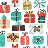 Seamless pattern with different textured gift boxes. Hand drawn elements. Background with holiday design. Freehand style. Doodle. Wallpaper, textiles, wrapping royalty free illustration