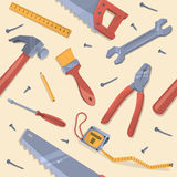 Seamless pattern with different tools Royalty Free Stock Photo