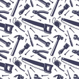 Seamless pattern with different tools Stock Photo