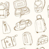 Seamless pattern different travel bags and suitcases Stock Images