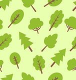Seamless pattern with different trees in flat style Royalty Free Stock Photos