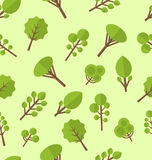 Seamless pattern with different trees in flat style Royalty Free Stock Photography