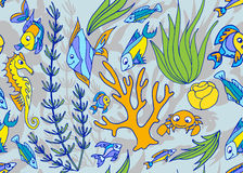 Seamless pattern with different tropical fish and coral. Vector illustration Stock Photography
