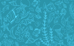 Seamless pattern with different tropical fish Royalty Free Stock Photos