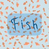 Seamless pattern from the different types of fish. With hand drawn word fish at the light blue water background Stock Images