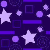 A seamless pattern of different types of shapes, all in purple, in different shades. Also in vector. nice as a background, from wallpaper, fabric Royalty Free Stock Photo