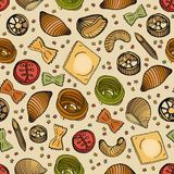 Seamless pattern with different types of tasty uncooked pasta. Backdrop with delicious traditional Italian product. Hand Royalty Free Stock Photos
