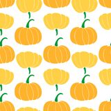 Seamless pattern with different varieties of pumpkins. bottle gourd; cinderella variety; butternut vector illustration