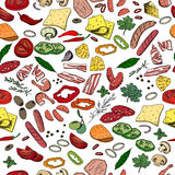 Seamless pattern with different vegetables, cheese and meat. Stock Photos