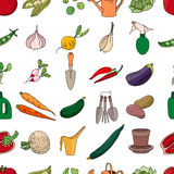 Seamless pattern with different vegetables and garden tools. Stock Photo