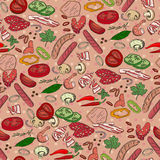 Seamless pattern with different vegetables, mushrooms and meat. Royalty Free Stock Photos