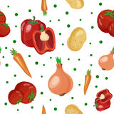 Seamless pattern with different vegetables. Pepper, potato, tomato, onion, carrot and pea pattern on white background Royalty Free Stock Photography