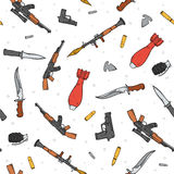 Seamless pattern with different weapon scattered by doodle. Handmade bombs Stock Images