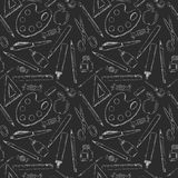 Seamless pattern with different white school supplies on black background like chalk drawn on a school desk Royalty Free Stock Photos