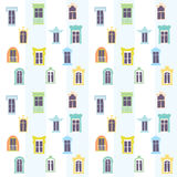 Seamless pattern of different windows in a cartoon style Royalty Free Stock Photography