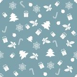 Seamless pattern with with different winter symbols. Christmas background. Seamless pattern with  Christmas symbols on a white background. For the new year and Stock Photo