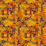 Seamless pattern with different yellow leafs. On dark blue background vector illustration