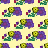 Seamless pattern with digfferent flowers on the light background Royalty Free Stock Image
