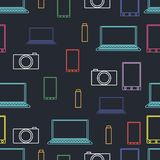 Seamless pattern from digital electronics. Vector illustration Stock Photos