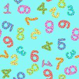 Seamless pattern with digits with numbers. And bubbles  on a blue background Stock Images