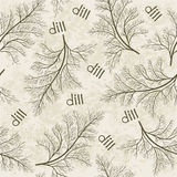 Seamless pattern with dill. Hand-drawn floral background. Monoc Stock Photos