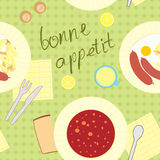 Seamless pattern with dinner theme Stock Photography