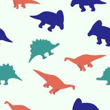 Seamless pattern with dinosaur, colrful and funny. vector illustration
