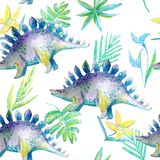Seamless pattern of a dinosaur and plants.Picture of a jungle. Stock Photos