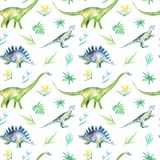 Seamless pattern of a dinosaur and plants.Picture of a jungle. Royalty Free Stock Image