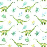 Seamless pattern of a dinosaur and plants.Picture of a jungle. Royalty Free Stock Photography