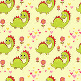 Seamless pattern with dinosaurs in cartoon vector. Stock Image