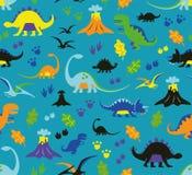 Seamless pattern dinosaurs. Seamless childrens vector pattern dinosaurs Royalty Free Stock Image