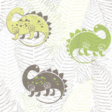 Seamless pattern with dinosaurs and ferns. Vector illustration. Cartoon background with cute dinosaurs. Seamless  pattern Stock Photo