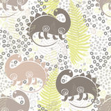 Seamless pattern with dinosaurs and ferns. Vector illustration. Vector seamless pattern with colorful dinosaurs and ferns Stock Image
