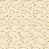 Seamless pattern, dinosaurs, line art Stock Image