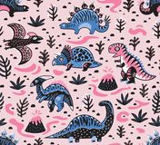 Cute cartoon dinosaurs seamless pattern in pink and blue colors. Vector illustration. Seamless pattern of dinosaurs, volcano, lava, ferns and leaves in cartoon Stock Photo