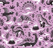 Cute cartoon dinosaurs seamless pattern in white, pink and black colors. Vector illustration. Seamless pattern of dinosaurs, volcano, lava, ferns and leaves in Stock Image