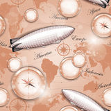 Seamless pattern - dirigible and compass Stock Photo