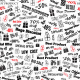 Seamless pattern on discounts and special offers Stock Photography