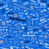 Seamless pattern on discounts and special offers Stock Image