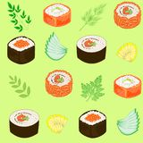 Seamless pattern. Dishes of national Japanese cuisine, sushi, rolls, fish. Suitable as wallpaper in the kitchen, for packing food stock illustration