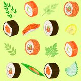 Seamless pattern. Dishes of national Japanese cuisine, sushi, rolls, fish. Suitable as wallpaper in the kitchen, for packing food royalty free illustration