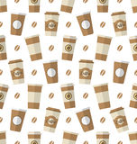 Seamless Pattern with Disposable Coffee Cups Royalty Free Stock Image