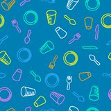 Seamless pattern. Disposable tableware pattern. Colorful plates, glasses and cutlery on a blue background. Linear simple illustration royalty free illustration