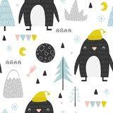 Seamless pattern with doddle penguins vector illustration