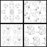Seamless pattern of dog-black and white Stock Photos