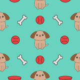 Seamless Pattern with dog, bone, plate, ball toy. Cute cartoon pet character texture. Blue background. Flat design. Stock Photos
