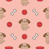 Seamless Pattern with dog, bone, plate, ball toy. Cute cartoon pet character texture. Pink background. Flat design. Stock Photography
