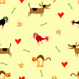 Seamless vector pattern with dog, cat and cock. Seamless pattern with dog, cat and cock. Hearts and bones Stock Photo
